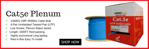 1000ft Cat5e Plenum Bulk Cable Ethernet UTP CMP Network 350Mhz Wire  Rj45 Blue
